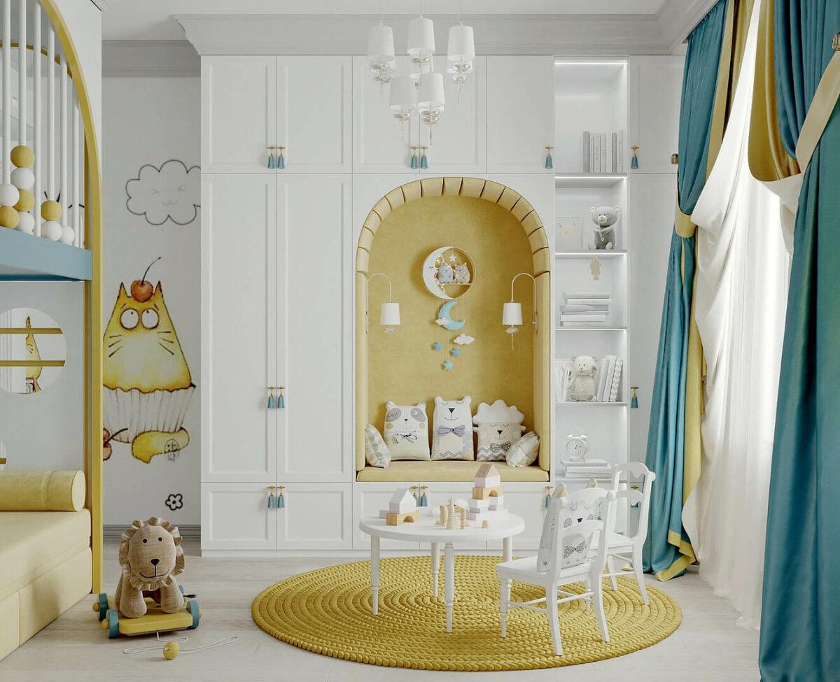 Мебель детской комнаты девочки 2-5 лет проект 4611-1