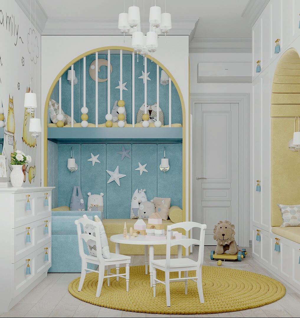 Мебель детской комнаты девочки 2-5 лет проект 4611-3