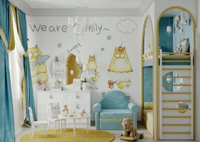 Мебель детской комнаты для девочки 2-5 лет — проект 4611