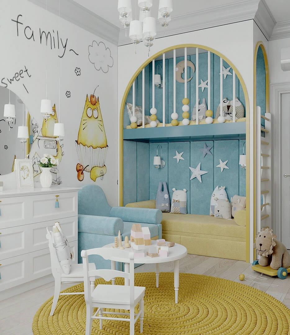 Мебель детской комнаты девочки 2-5 лет проект 4611-6