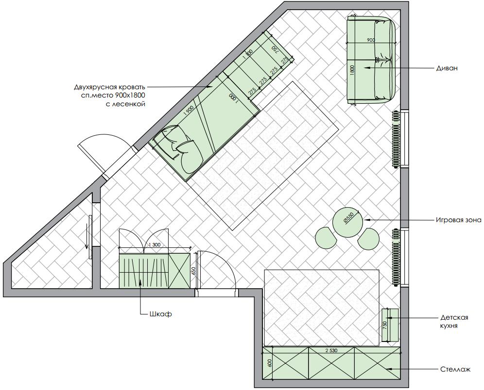 Мебель детской комнаты девочки 3-5 лет проект 4035-6