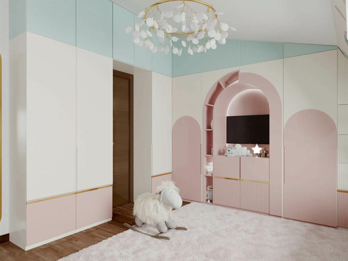 Мебель детской комнаты девочки 3-5 лет проект 4545-1