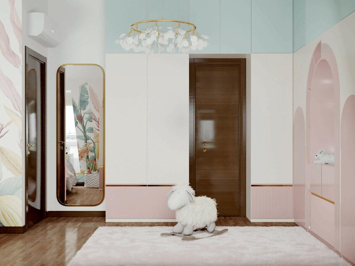 Мебель детской комнаты девочки 3-5 лет проект 4545-2