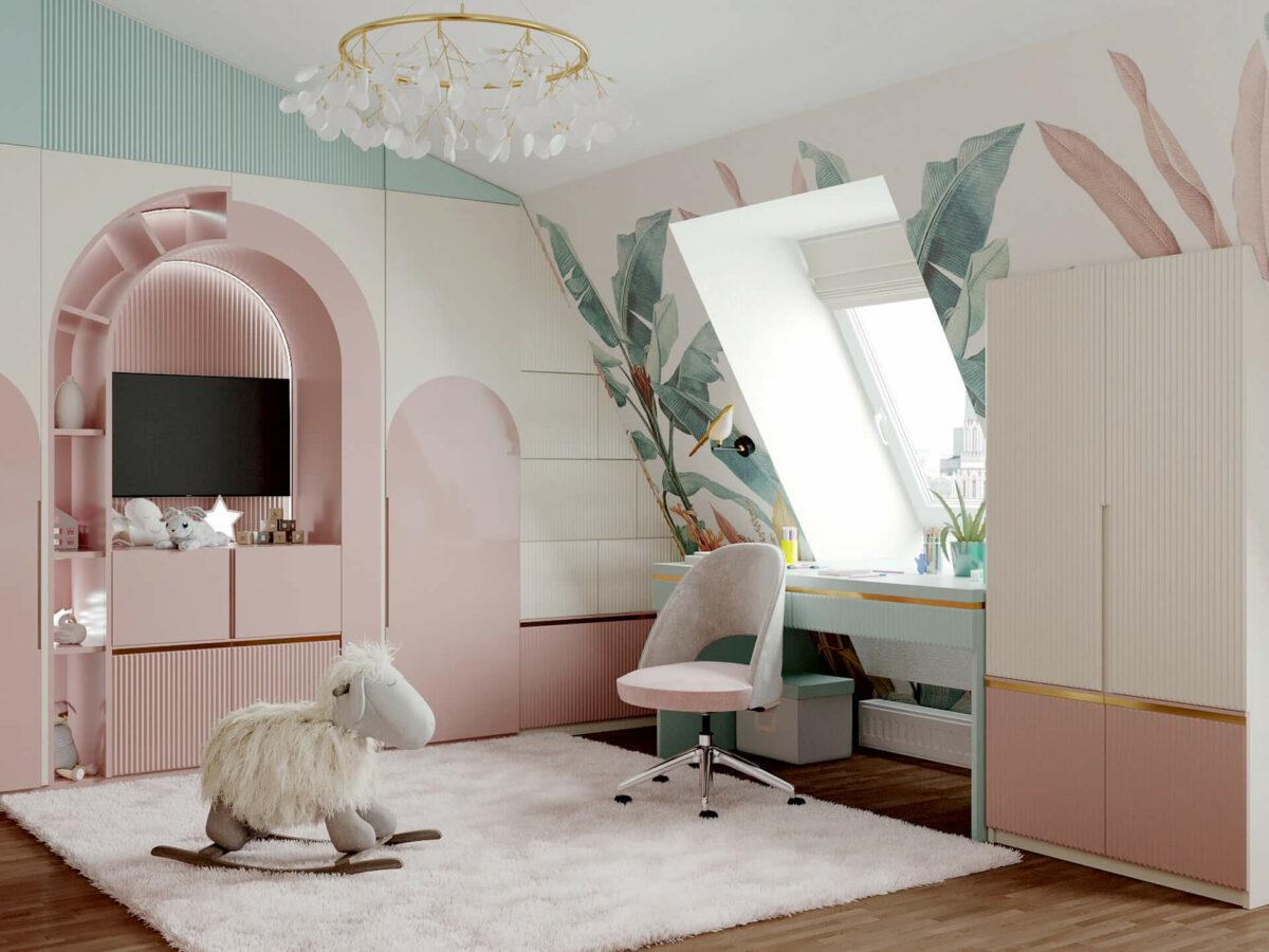 Мебель детской комнаты девочки 3-5 лет проект 4545-3