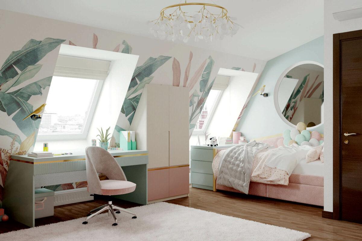Мебель детской комнаты девочки 3-5 лет проект 4545-4