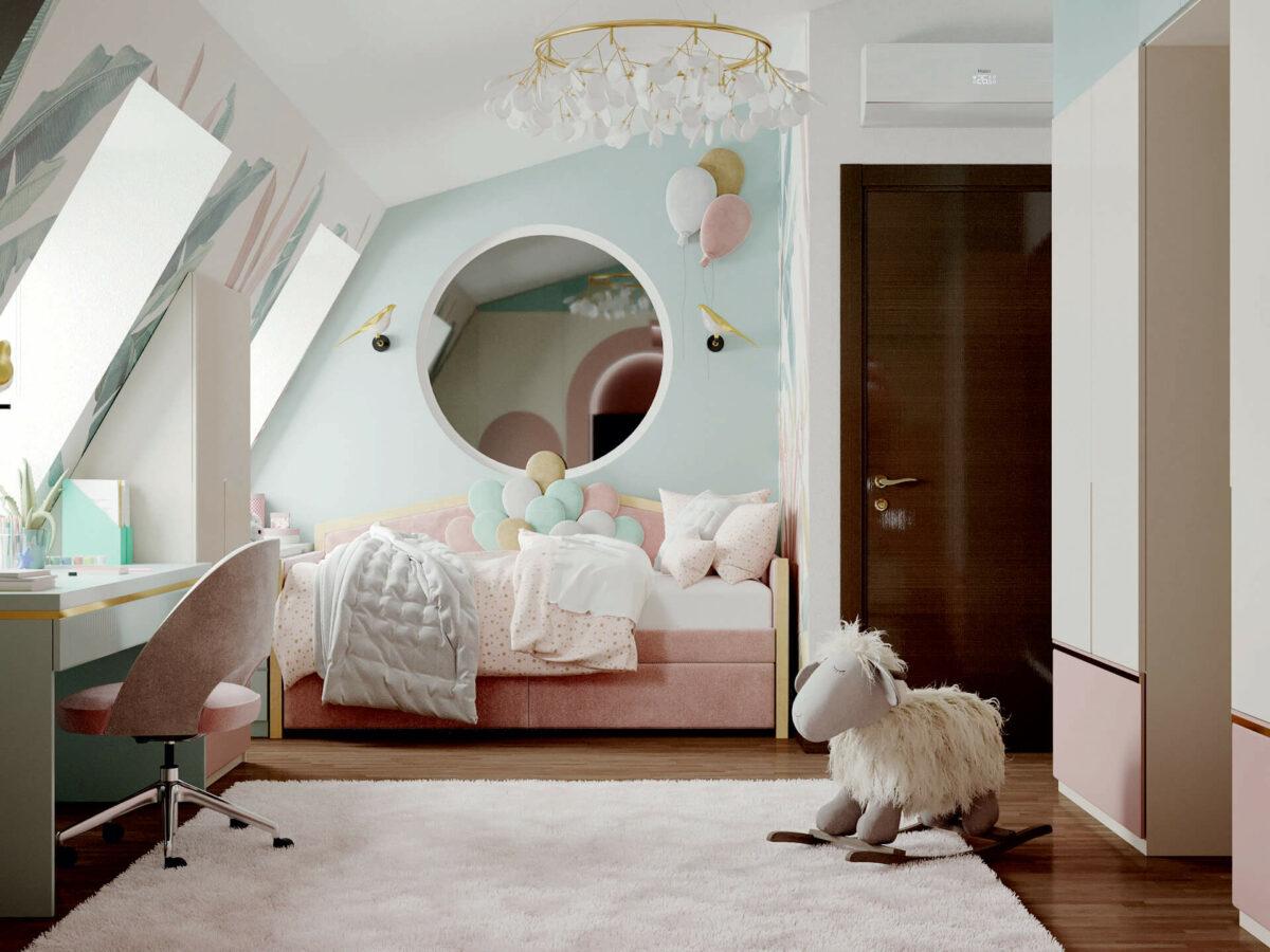 Мебель детской комнаты девочки 3-5 лет проект 4545-5