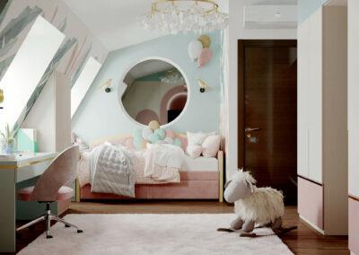 Мебель детской комнаты для девочки 3-5 лет — проект 4545