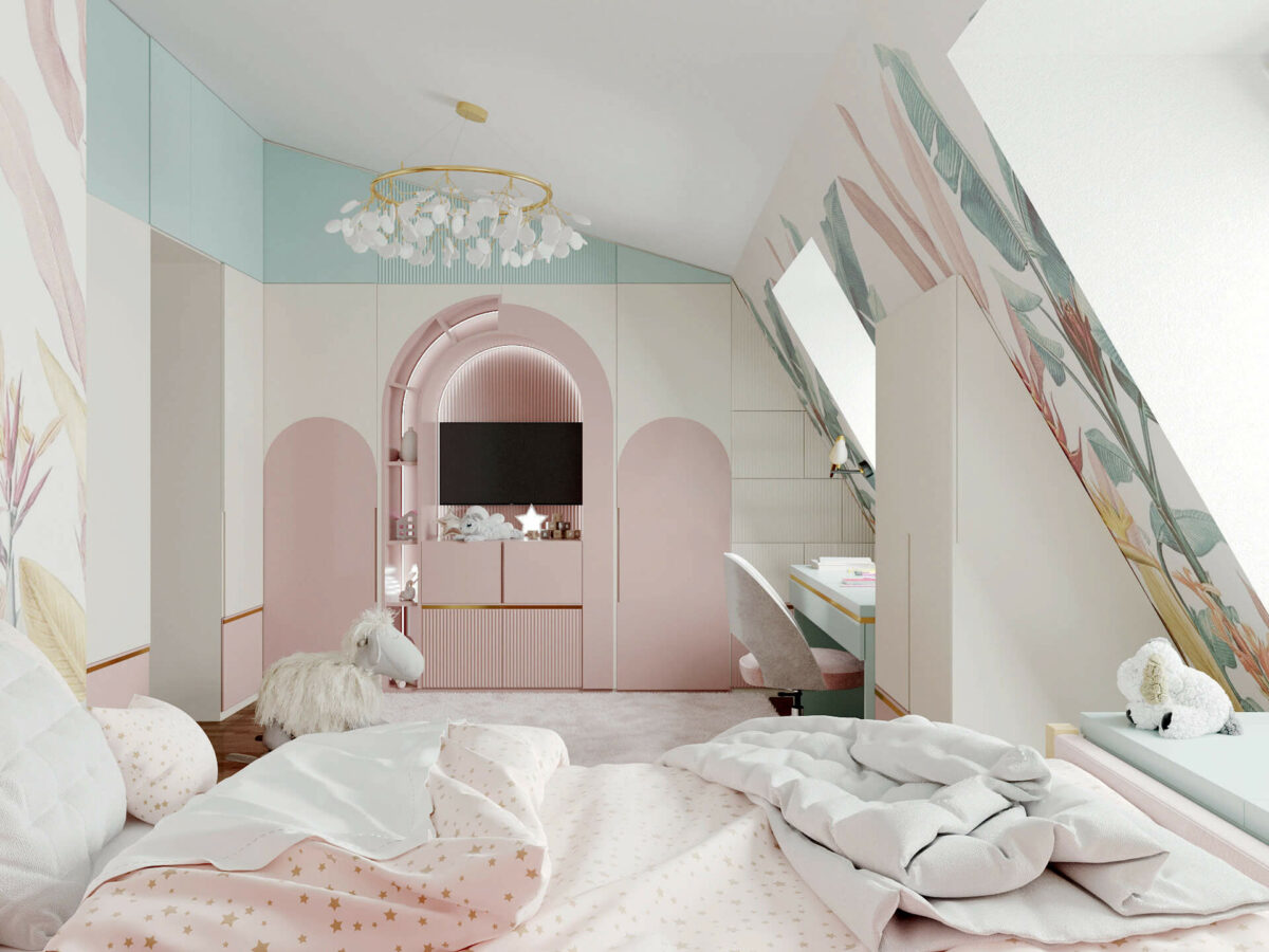 Мебель детской комнаты девочки 3-5 лет проект 4545-6