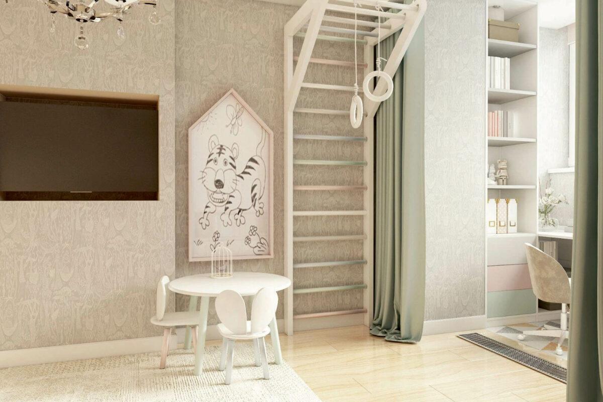 Мебель детской комнаты девочки 3-7 лет проект 4253-3
