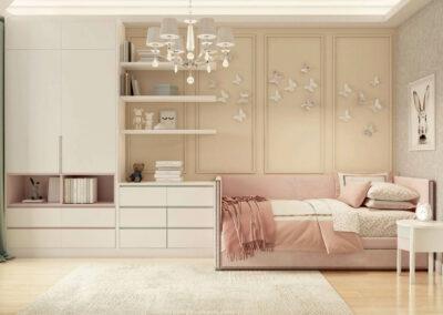Удобная мебель детской комнаты девочки 3-7 лет — проект 4253