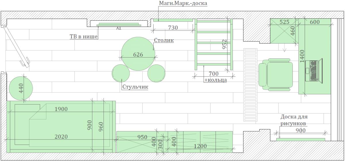 Мебель детской комнаты девочки 3-7 лет проект 4253-7