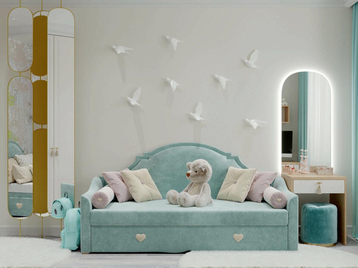 Мебель детской комнаты девочки 3-7 лет проект 4457-1