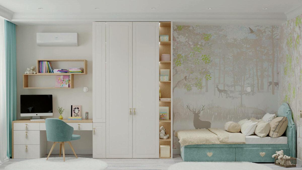 Мебель детской комнаты девочки 3-7 лет проект 4457-2