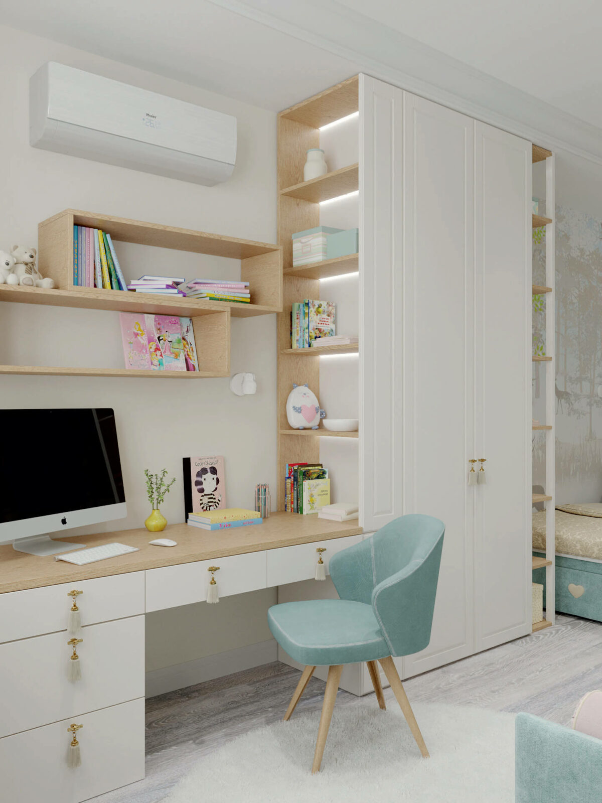 Мебель детской комнаты девочки 3-7 лет проект 4457-3