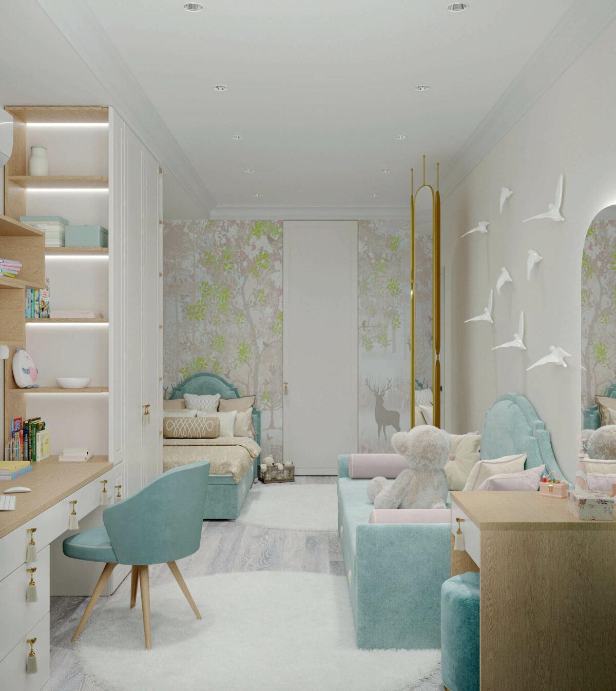 Мебель детской комнаты девочки 3-7 лет проект 4457-4