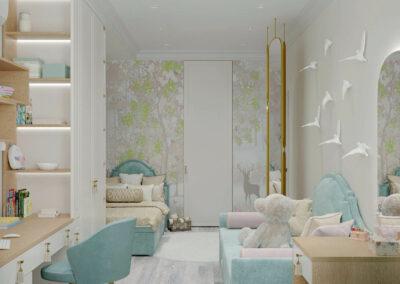 Мебель в бело-голубых тонах в детскую комнату девочки 3-7 лет — проект 4457