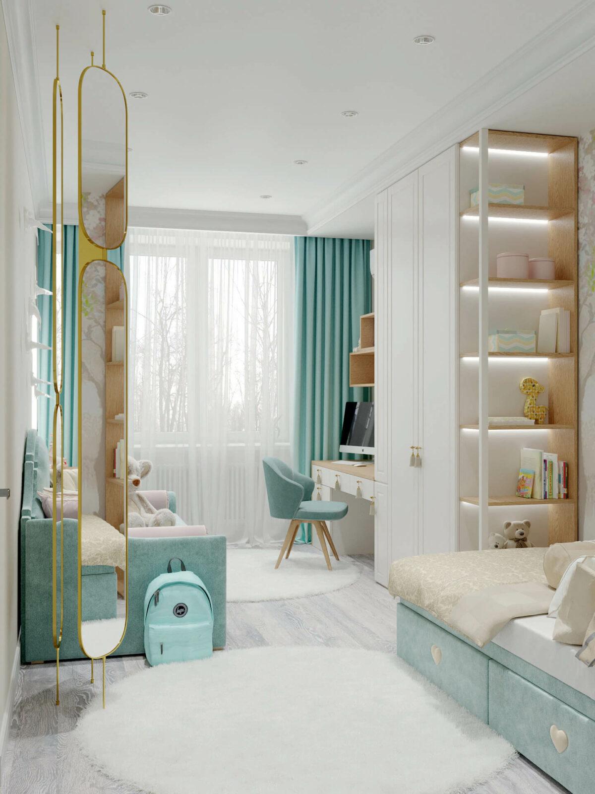 Мебель детской комнаты девочки 3-7 лет проект 4457-5