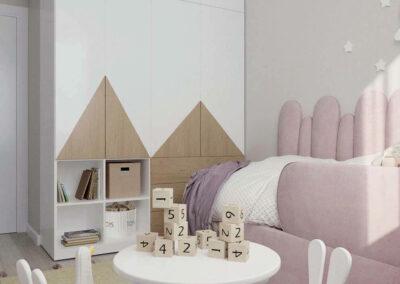 Мебель в спокойных тонах для детской комнаты девочки — проект 4031-2