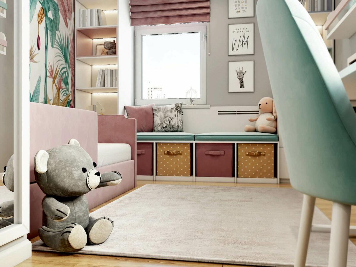 Мебель детской комнаты девочки проект 5213-1
