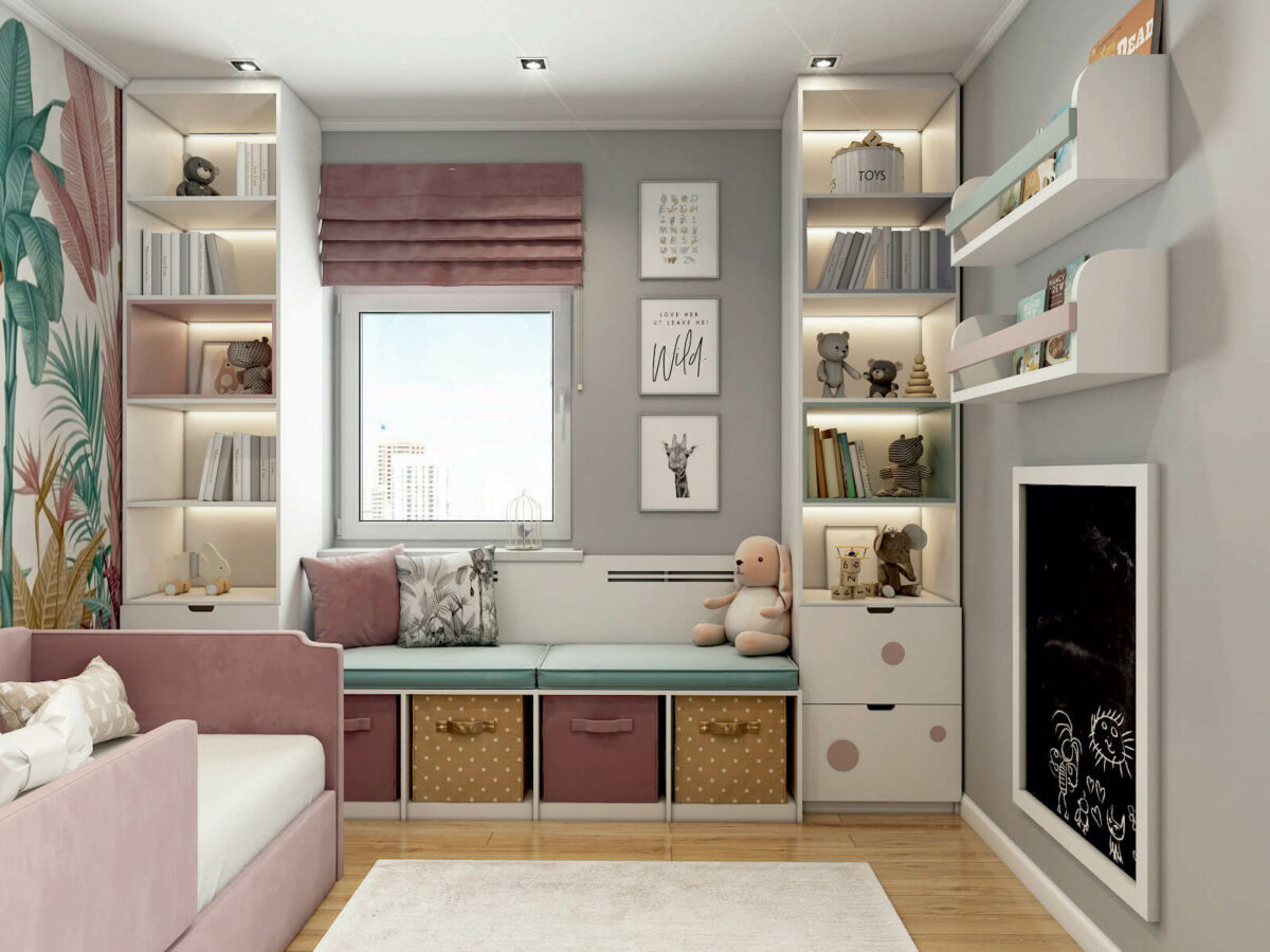 Мебель детской комнаты девочки проект 5213-4