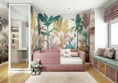 Вместительная мебель детской комнаты для девочки-дошкольницы — проект 5213
