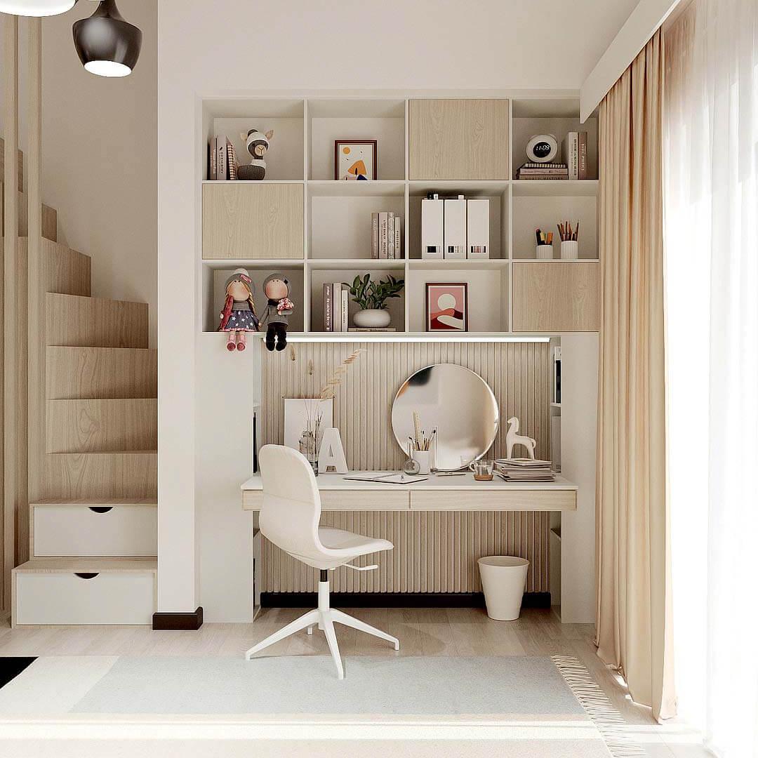 Мебель детской комнаты девочки-школьницы проект 4653-7