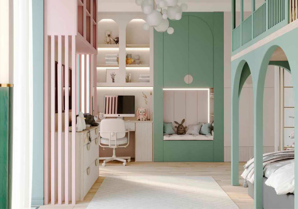 Мебель детской комнаты девочки-школьницы проект 4915-1