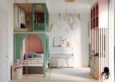 Мебель в ментоловом цвете в детскую комнату девочки-школьницы — проект 4915