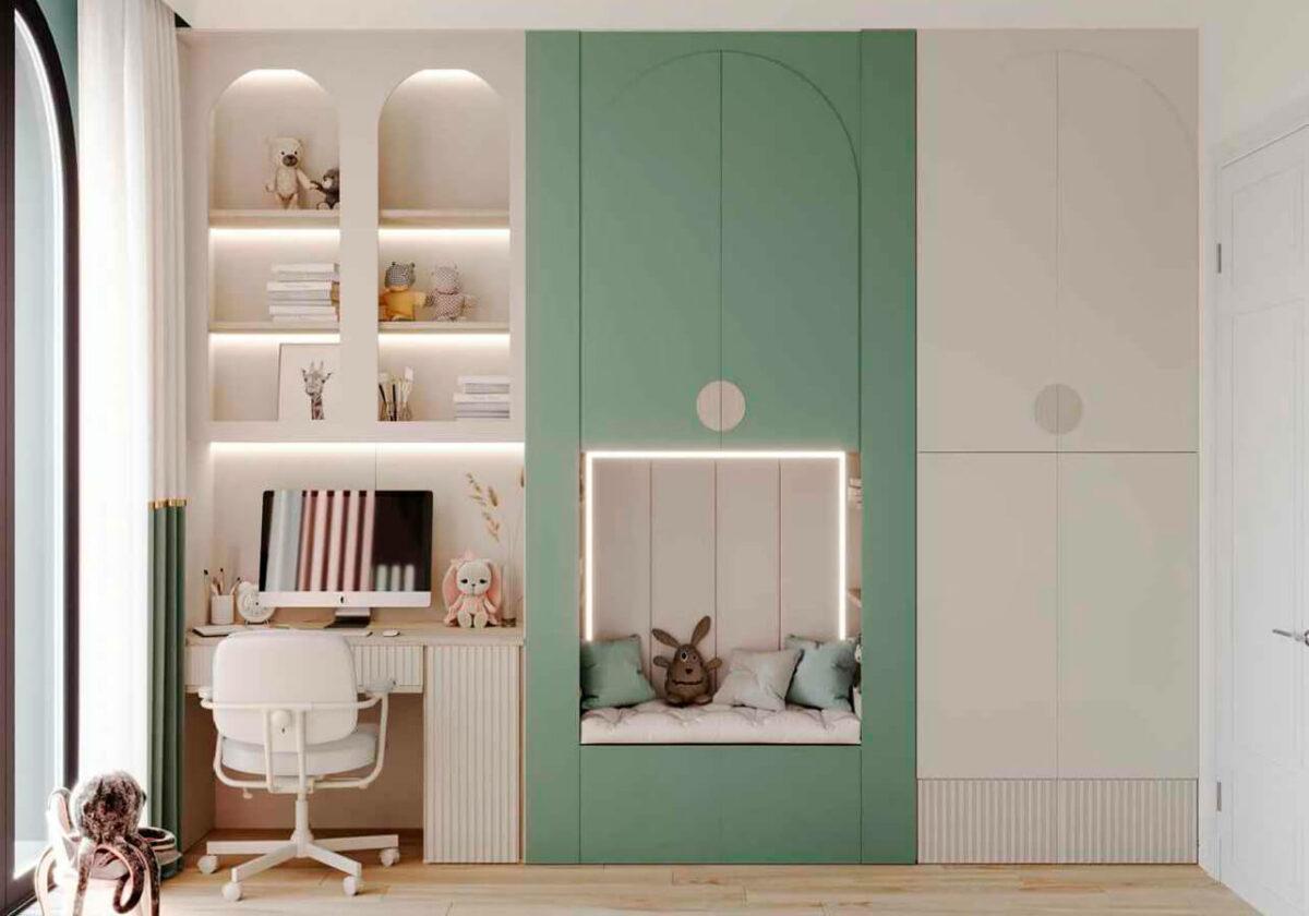Мебель детской комнаты девочки-школьницы проект 4915-4