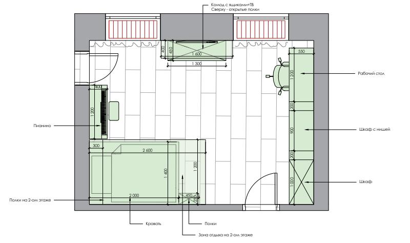Мебель детской комнаты девочки-школьницы проект 4915-5