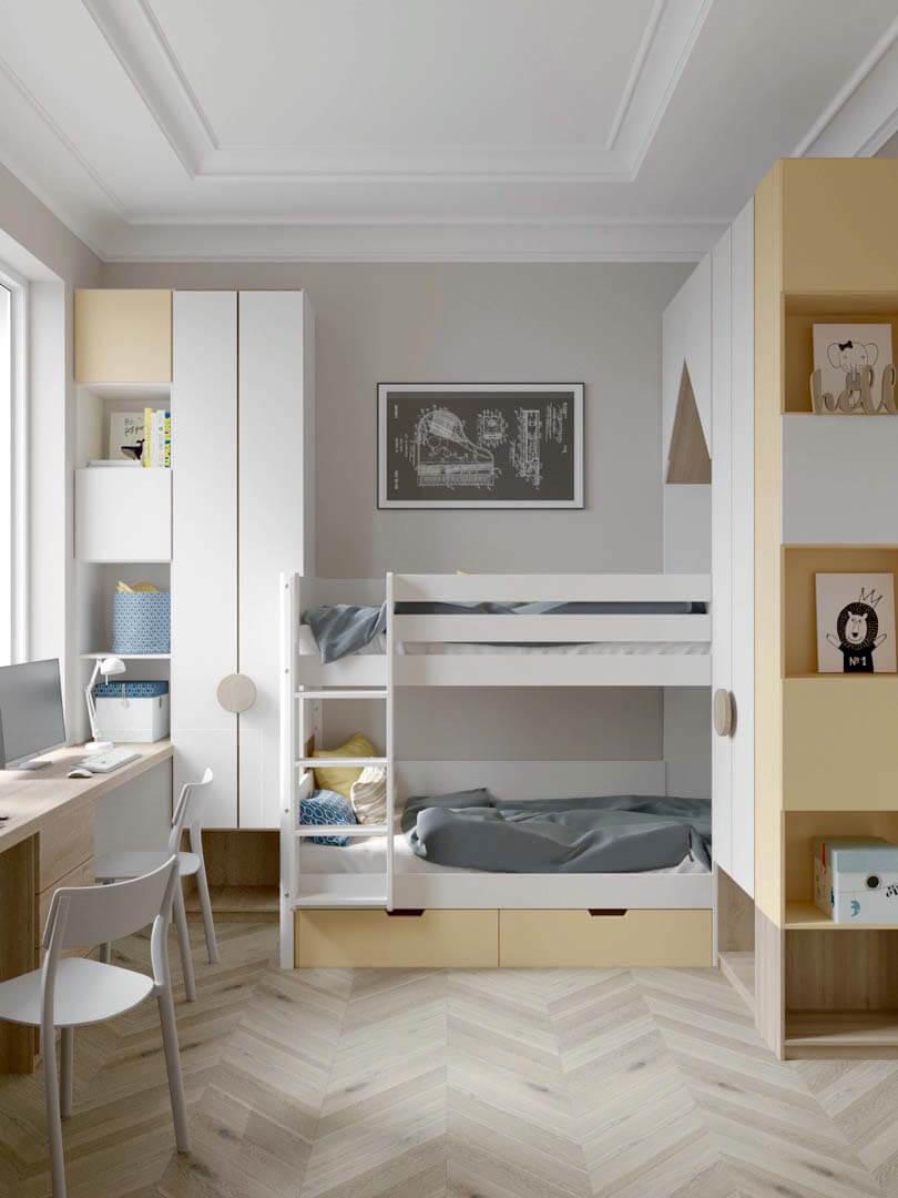 Мебель детской комнаты для 2 мальчиков проект 3889-1