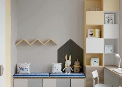 Удобная мебель детской комнаты для двух мальчиков — проект 3889