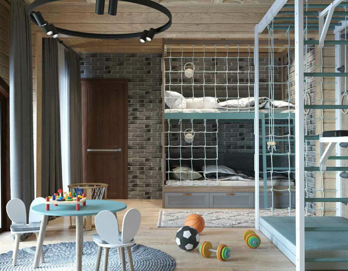 Мебель детской комнаты для 2 мальчиков проект 3979-1