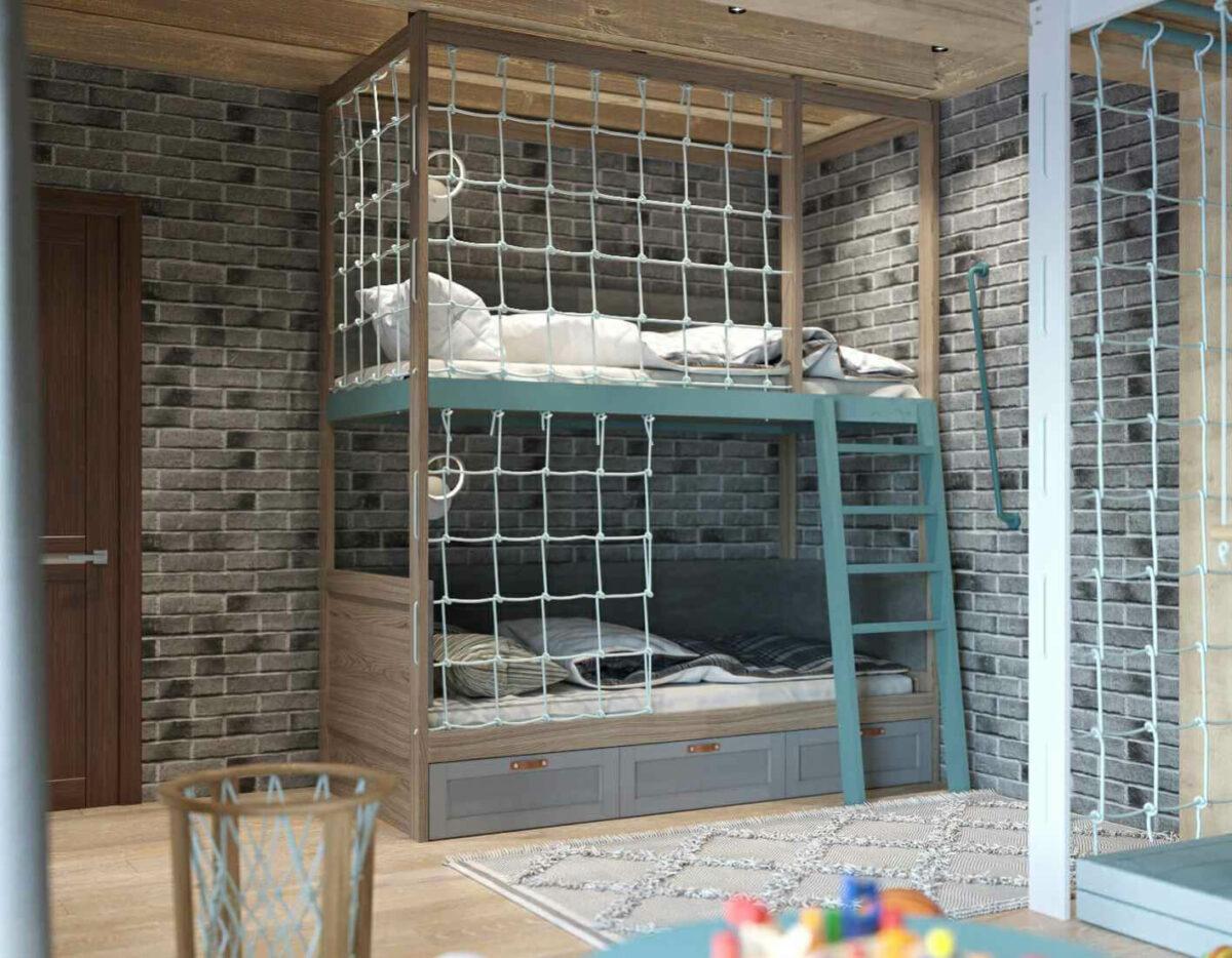 Мебель детской комнаты для 2 мальчиков проект 3979-2