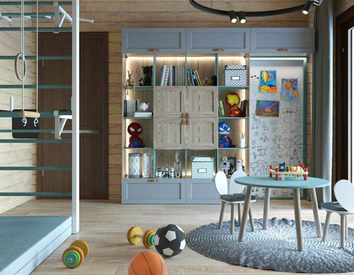 Мебель детской комнаты для 2 мальчиков проект 3979-3
