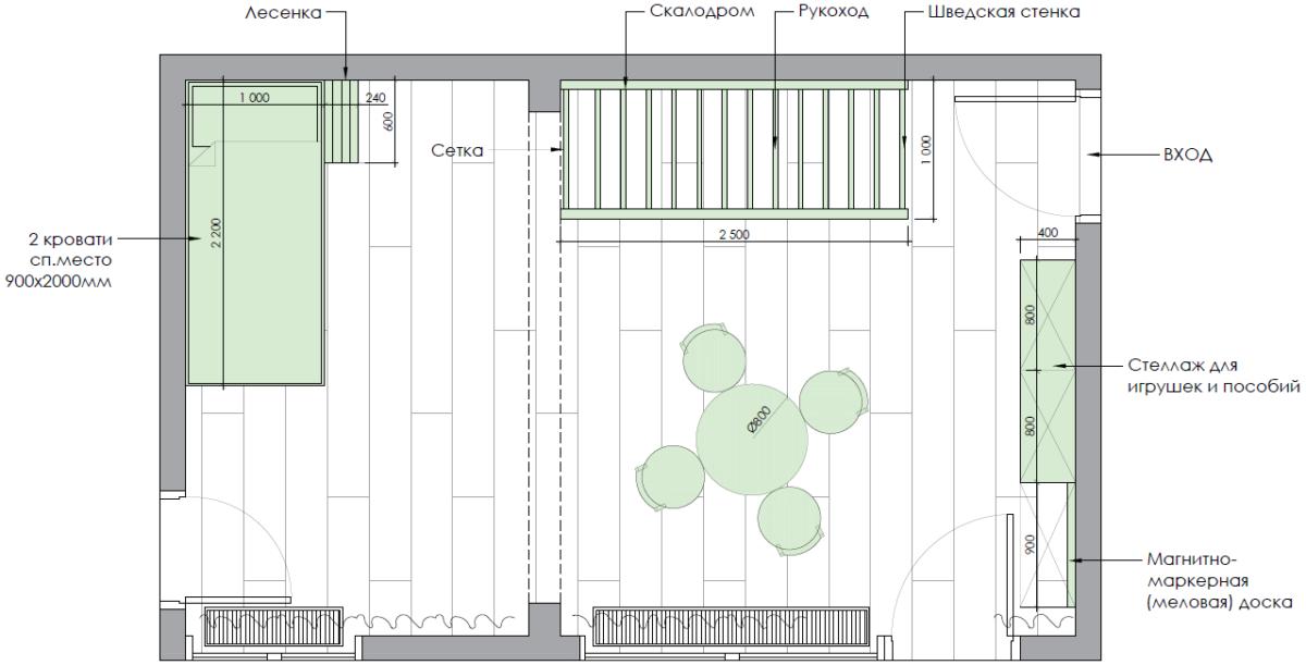 Мебель детской комнаты для 2 мальчиков проект 3979-7