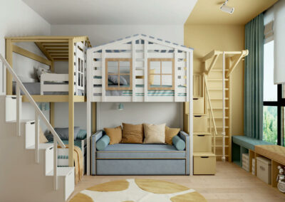 Мебель детской комнаты для троих детей — проект 4335