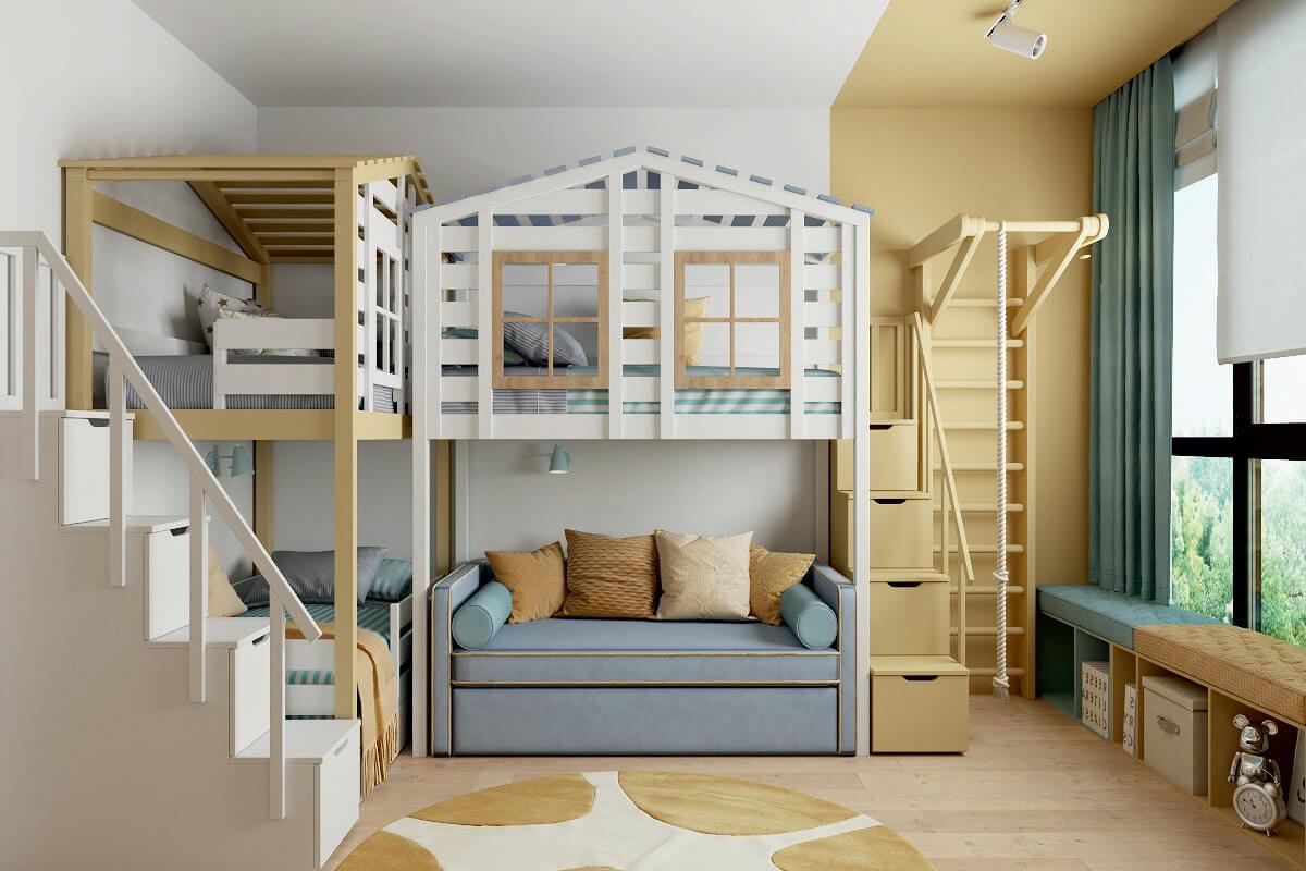 Мебель детской комнаты для 3 детей 4335-2