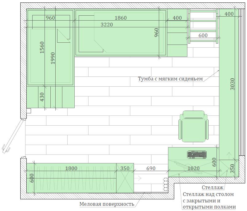 Мебель детской комнаты для 3 детей 4335-4