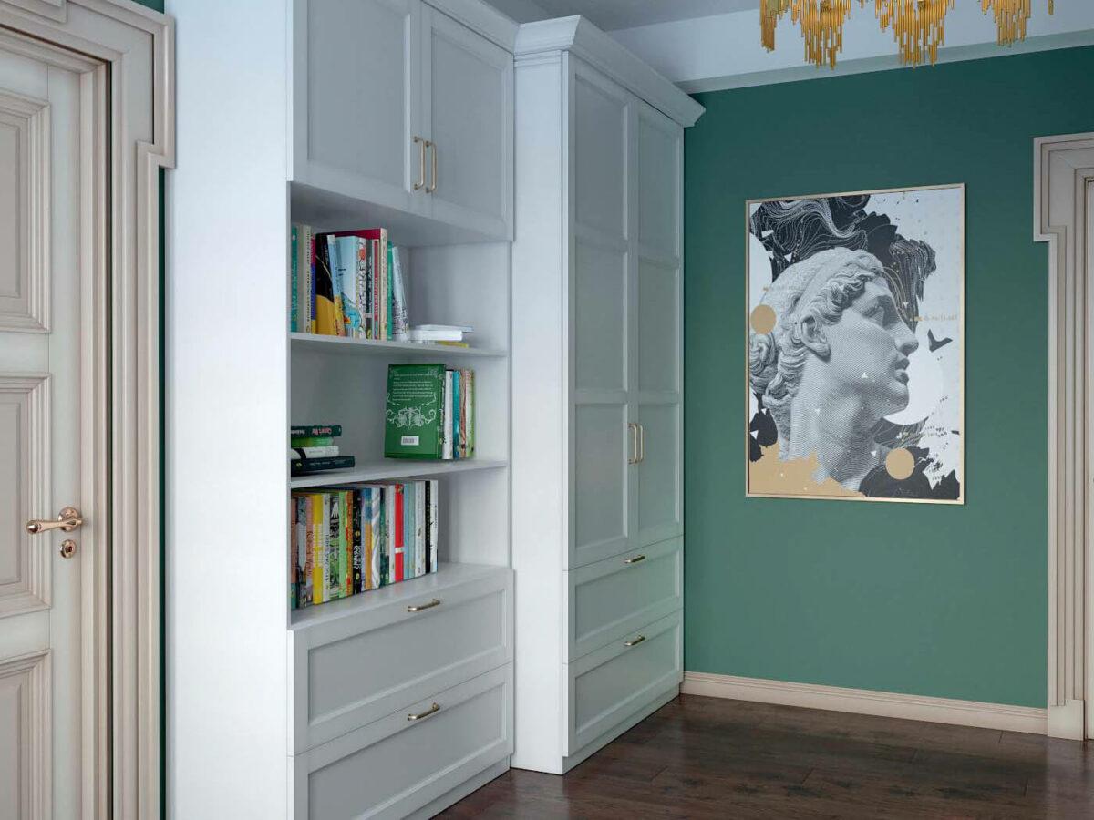 Мебель детской комнаты для 3 детей проект 4593-3
