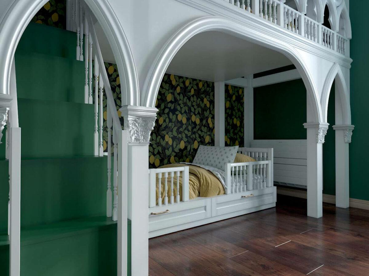 Мебель детской комнаты для 3 детей проект 4593-4