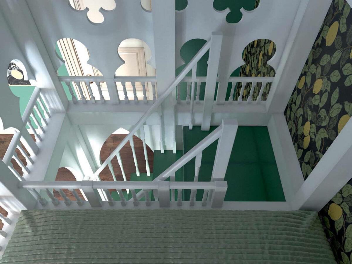 Мебель детской комнаты для 3 детей проект 4593-5
