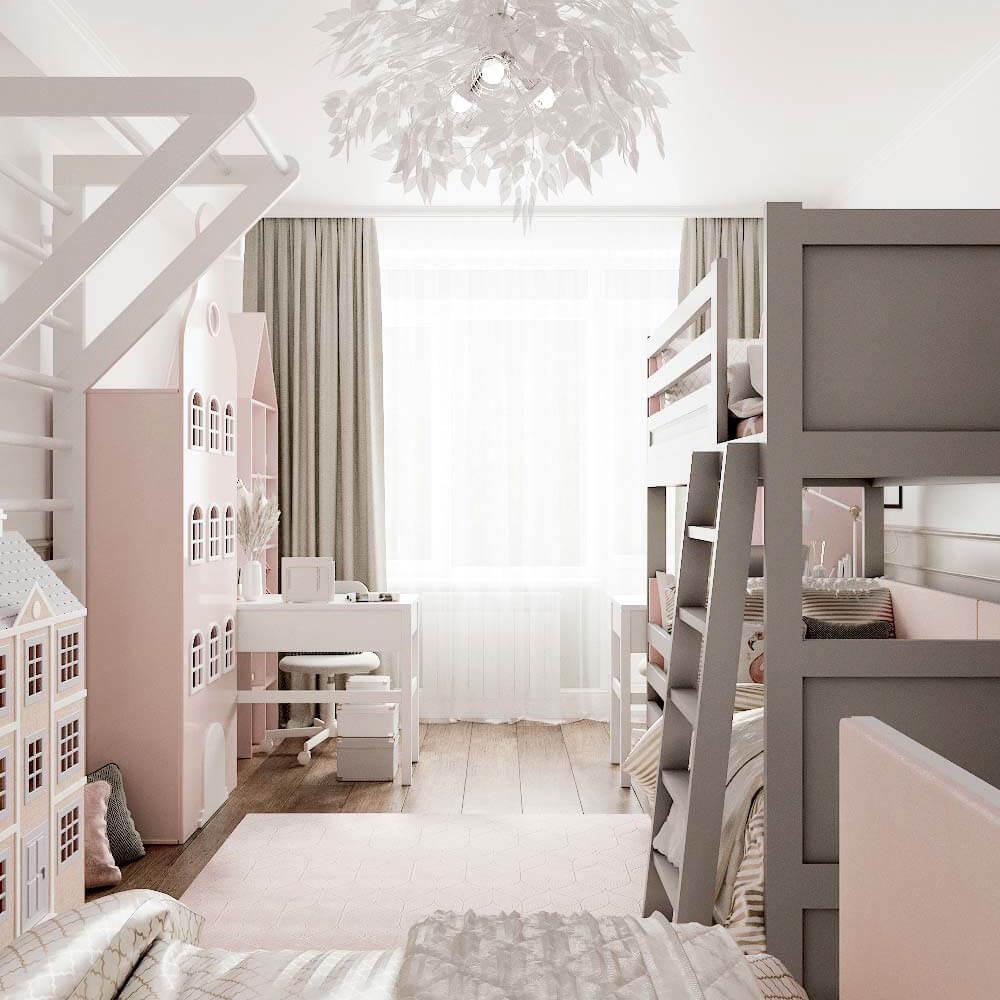 Мебель детской комнаты для 3 девочек проект 3435-1