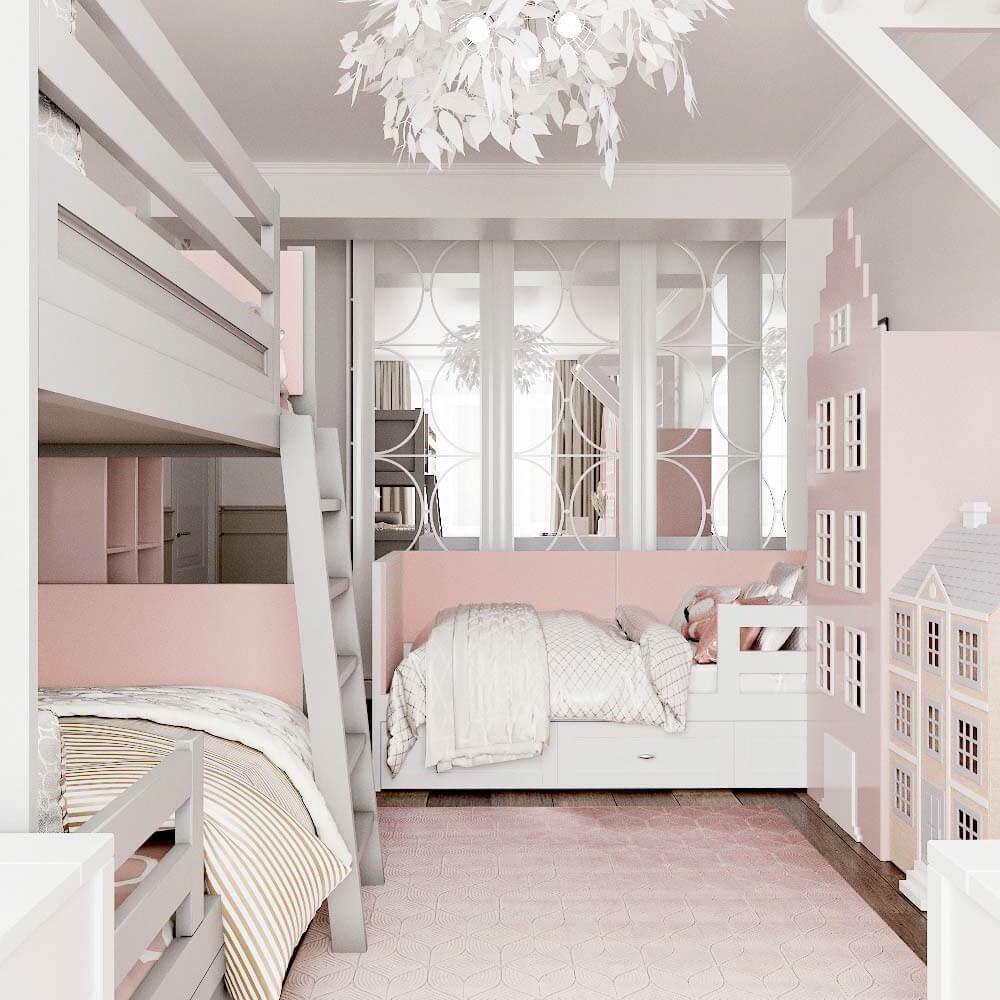 Мебель детской комнаты для 3 девочек проект 3435 -2