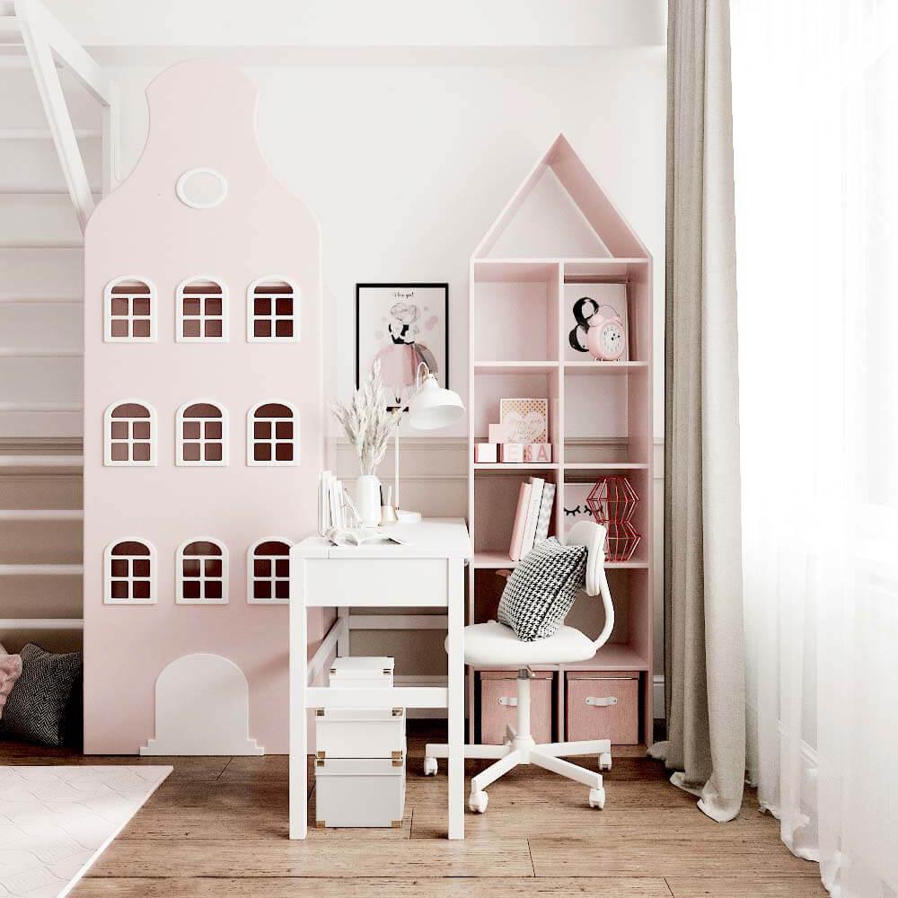 Мебель детской комнаты для 3 девочек проект 3435-3