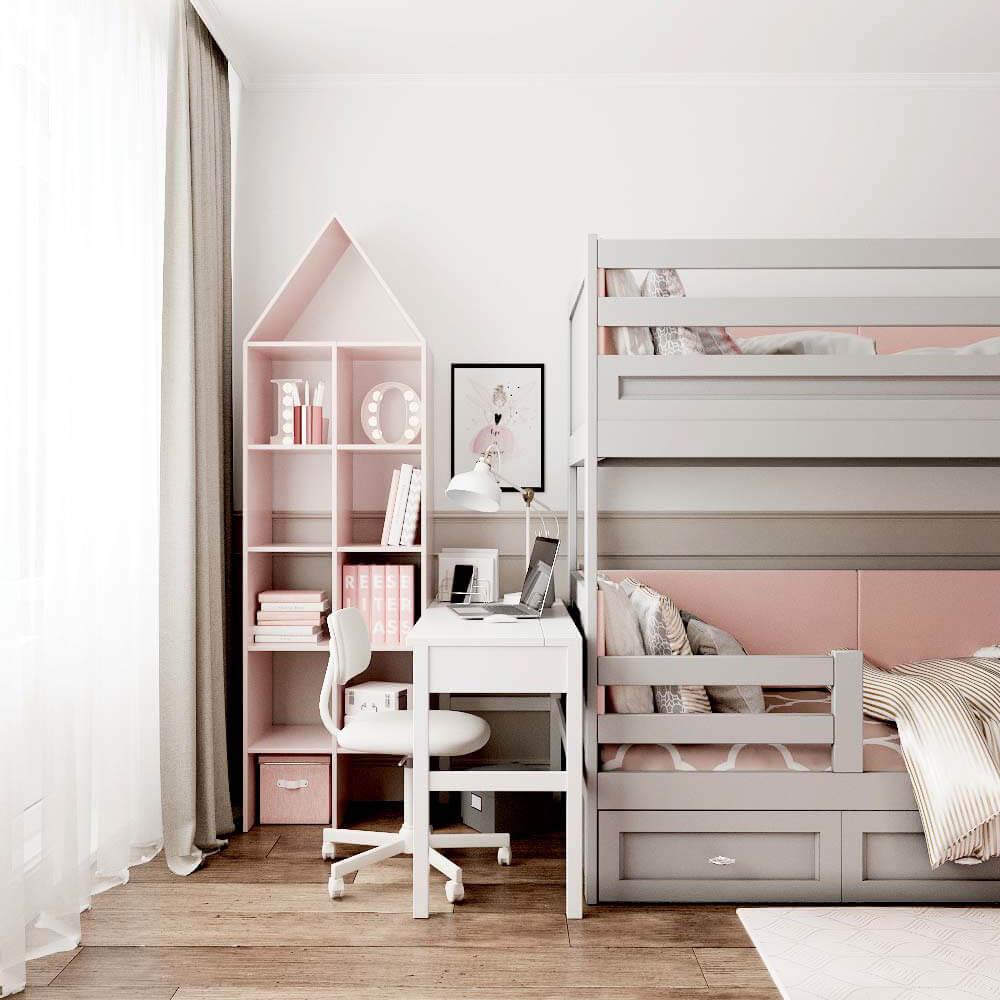 Мебель детской комнаты для 3 девочек проект 3435-4