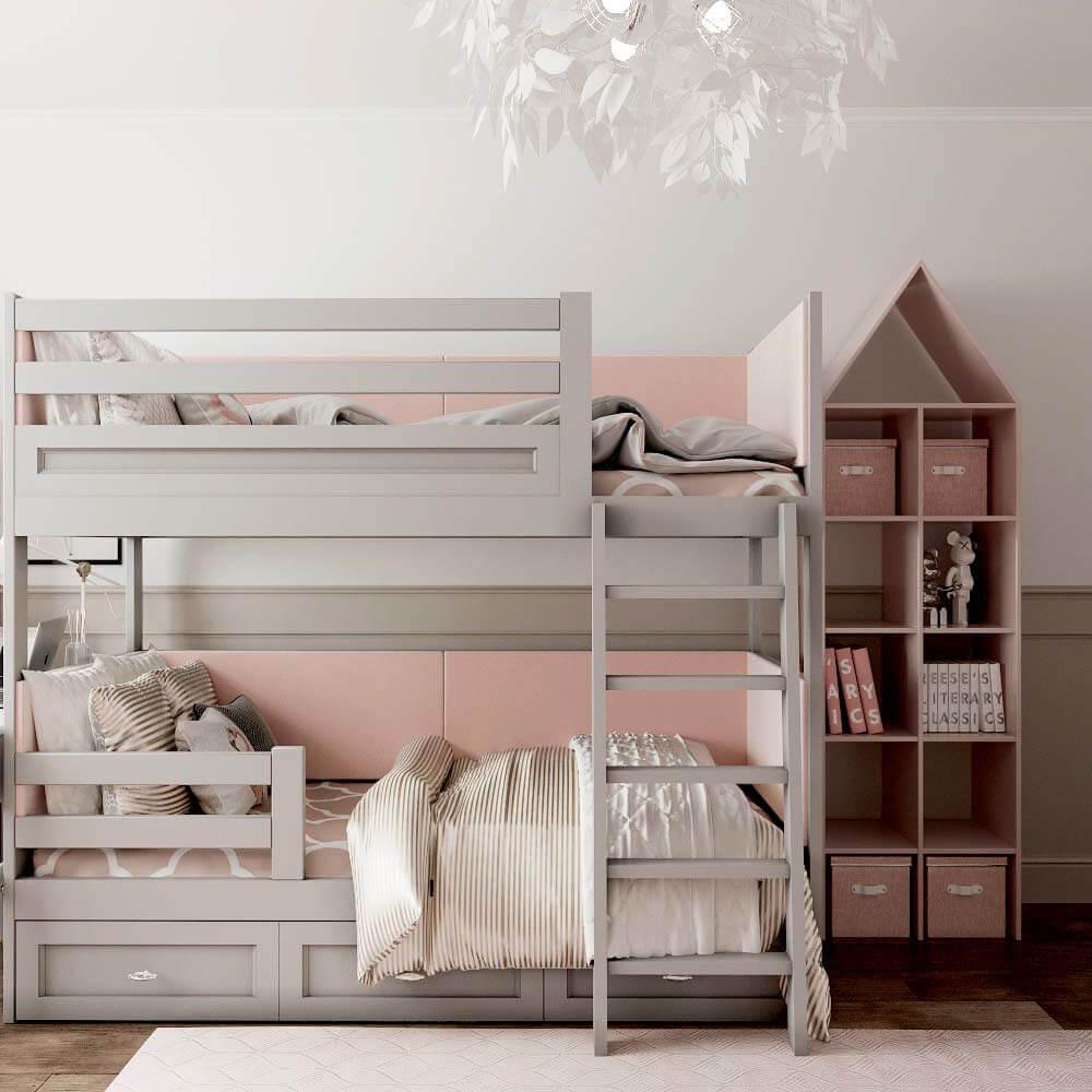 Мебель детской комнаты для 3 девочек проект 3435-5