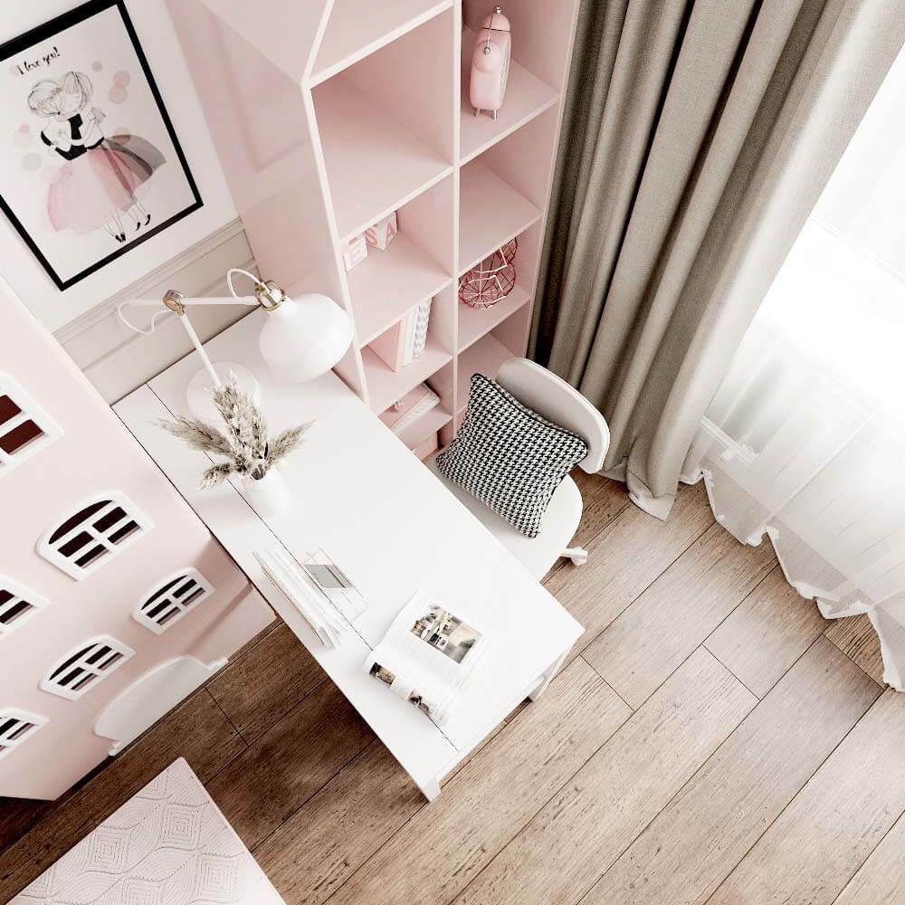 Мебель детской комнаты для 3 девочек проект 3435-7
