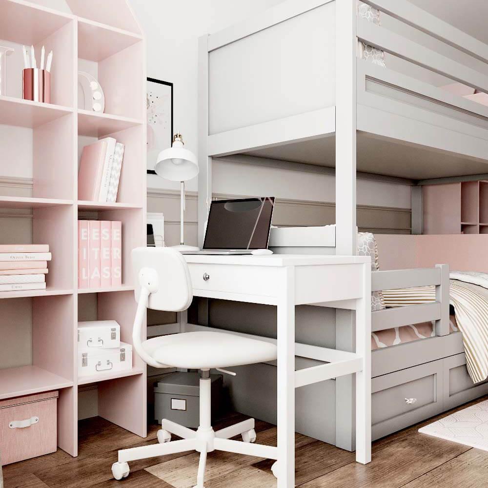 Мебель детской комнаты для 3 девочек проект 3435-8