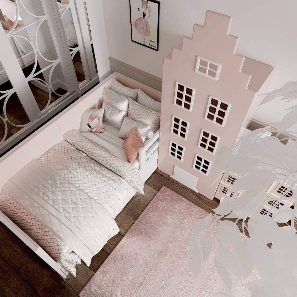 Мебель детской комнаты для 3 девочек проект 3435-9